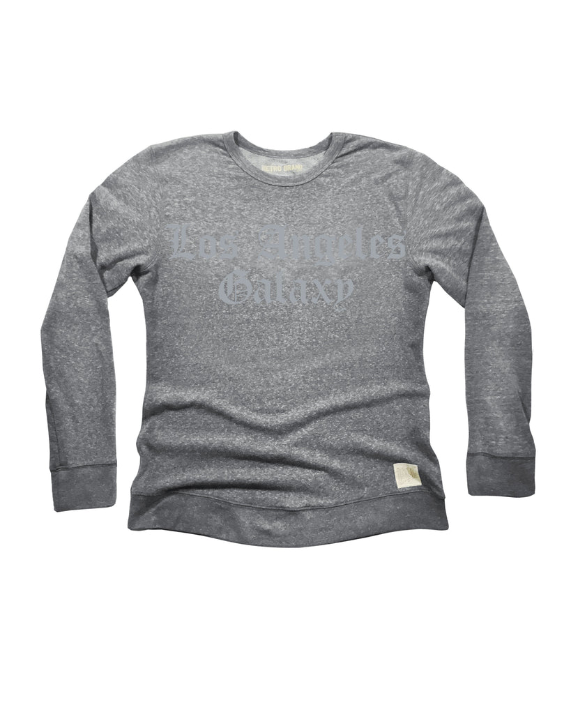 LA GALAXY ORIGINAL RETRO BRAND OLD ENGLISH GRAY CREW