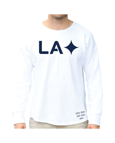LA GALAXY ORIGINAL RETRO WHITE LONG SLEEVE QUASAR PUFFER T