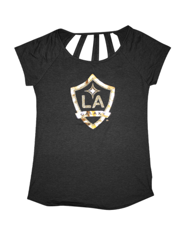 LA Galaxy Women's Cutout Glitter Ball T-Shirt