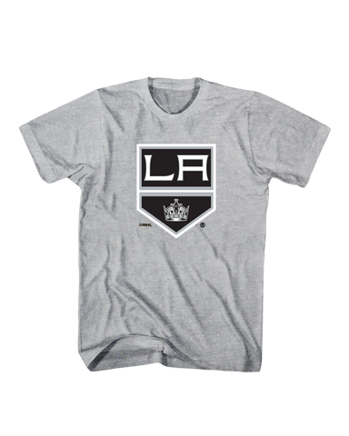 LA Kings Shield Logo Screen Tee - Grey