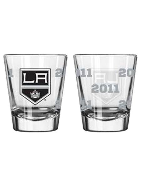 Los Angeles Kings 50th Anniversary 2oz Satin Etch Shield Shot Glass