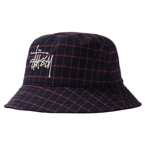 Basic Plaid Bucket Hat Navy