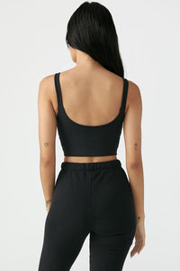 Contour Crop Tank Sueded Onyx