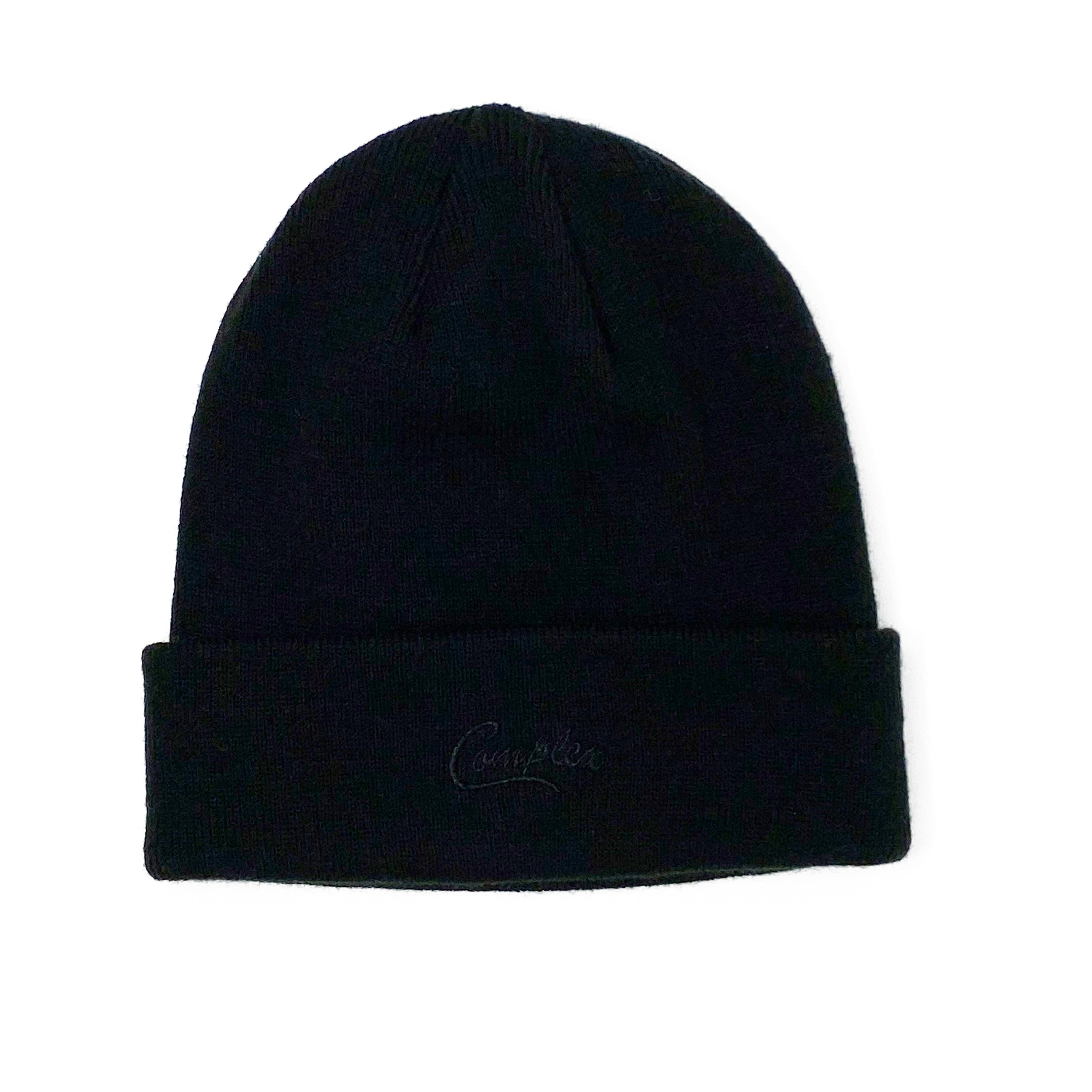 Embroidered Script Beanie Black Tonal