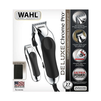 Hair Clippers  Wahl Delux Chrome Pro Combo Silver Black