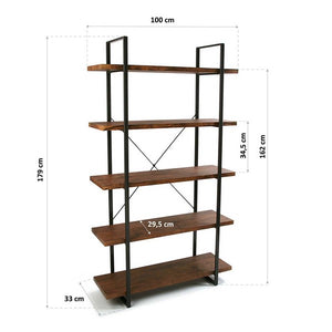 Shelves Wood 5 Shelves (33 x 179 x 100 cm)