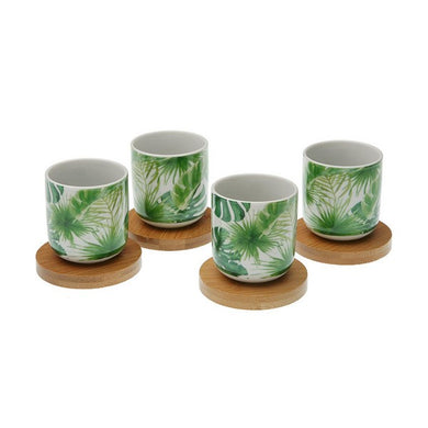Piece Coffee Cup Set New Leaves Bamboo Porcelain (4 pcs)