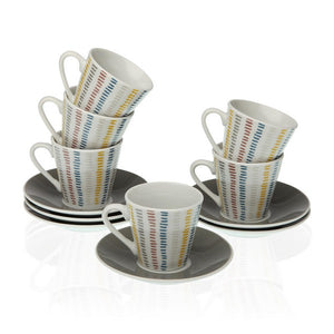 Piece Coffee Cup Set Corduroy Porcelain (12 Pieces)