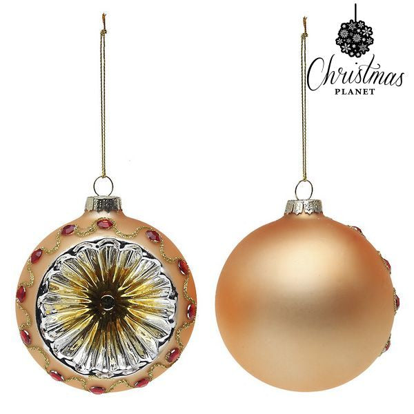 Christmas Baubles Christmas Planet 1730 8 cm (2 uds) Crystal Golden