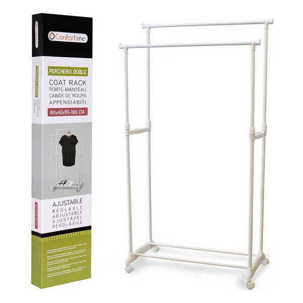 Double Coat Rack Confortime White (80 X 42 x 95 cm)