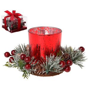 Candleholder Crystal Red