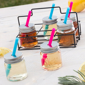 Wagon Trend Shot Glasses with Lids, Straws and Metal Basket (pack of 6)