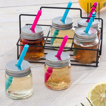 Load image into Gallery viewer, Wagon Trend Shot Glasses with Lids, Straws and Metal Basket (pack of 6)
