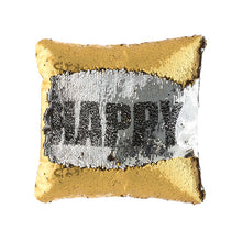 Load image into Gallery viewer, Loom In Bloom Enjoy & Happy Magic Mermaid Sequin Cushion