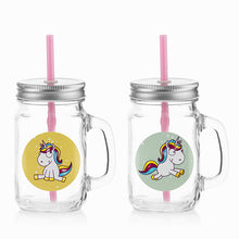 Load image into Gallery viewer, Junior Knows Unicorn Mini Mason Jar Mugs (Set of 2)