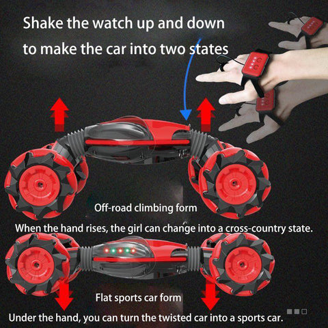 Watch gesture sensing remote control climbing car with light music remote control drift off-road stunt deformation car