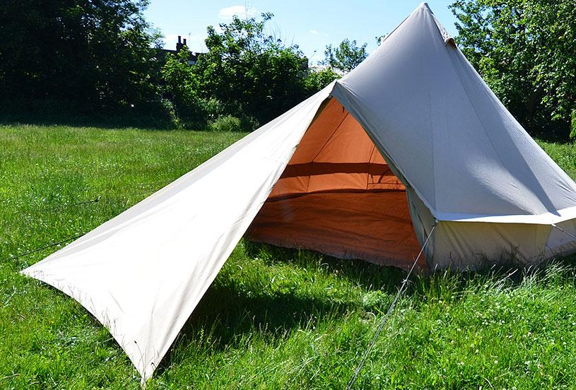 Cotton canvas tarp awnings and porches for tents