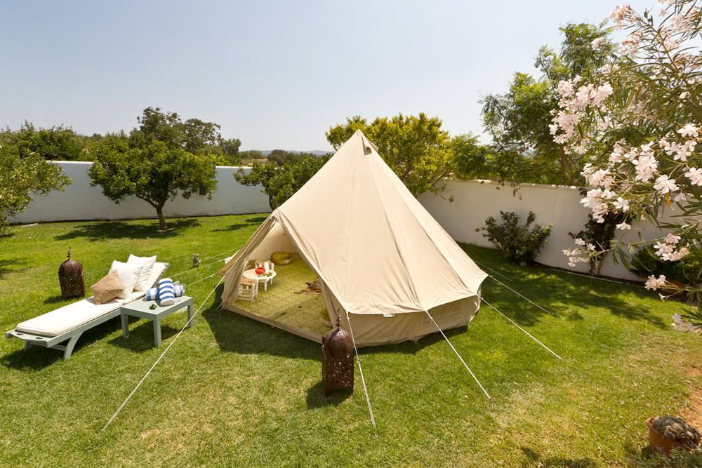 Bell tent in a sunny garden