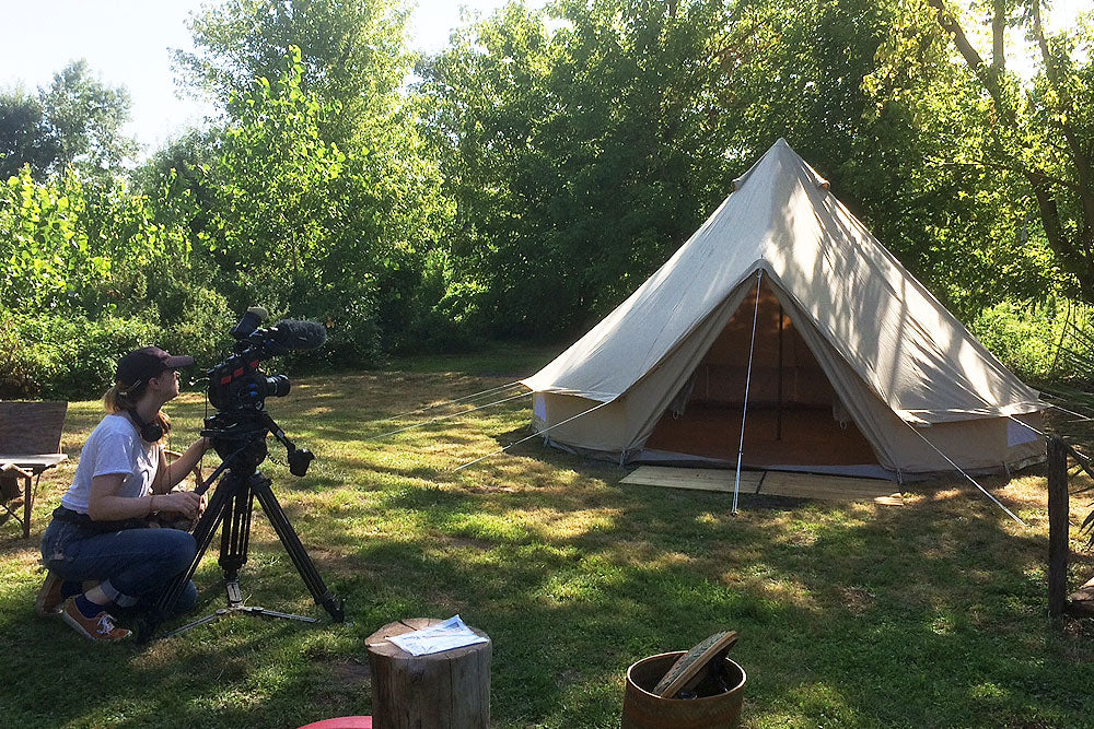 On shoot with camera operator and 5m ultimate pro bell tent