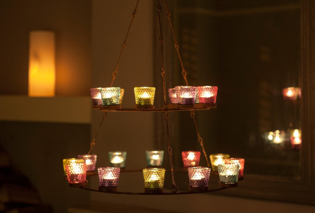 2 tier multi coloured glass tea light chandelier