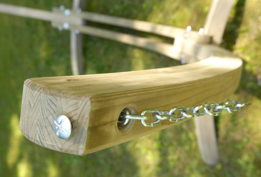 Large wooden hammock stand arc chain fittings