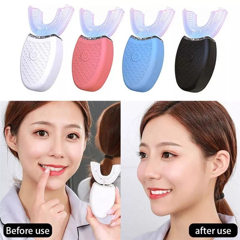 360 Degree Intelligent Automatic Sonic Toothbrush U Type Tooth Brush USB Charging Tooth Whitening Blue Light