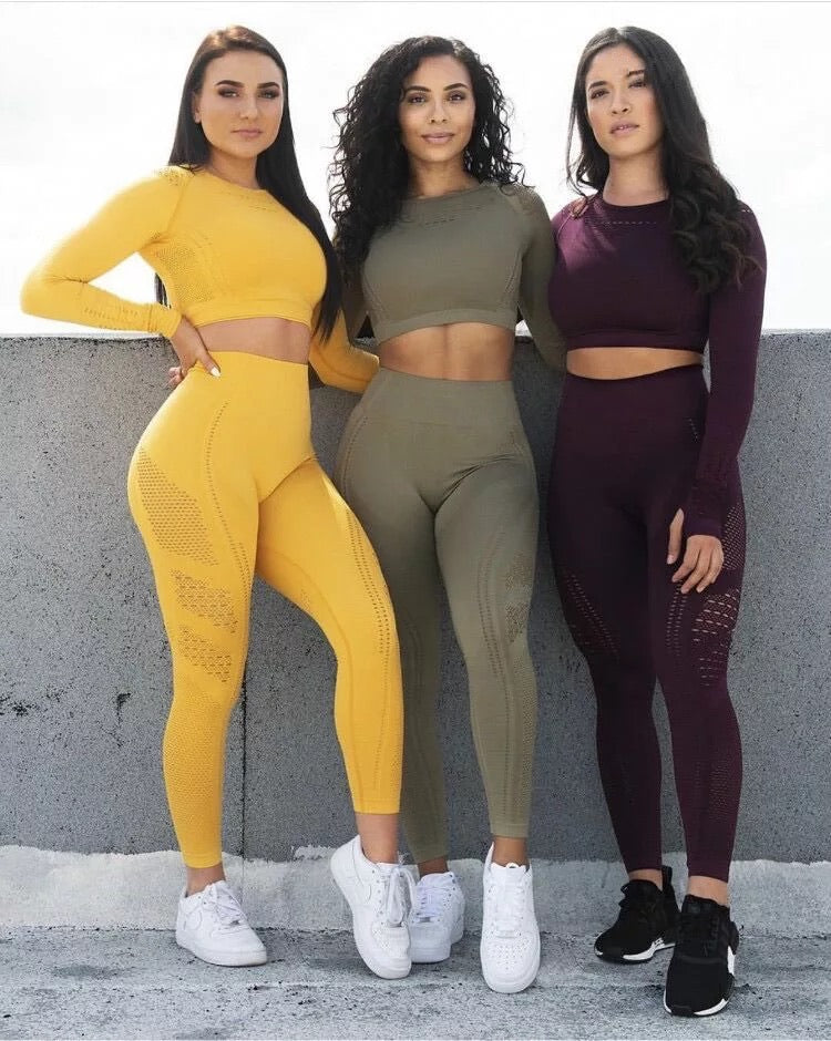Long Sleeve Fitness Crop Top + High Waist Energy Seamless Leggings