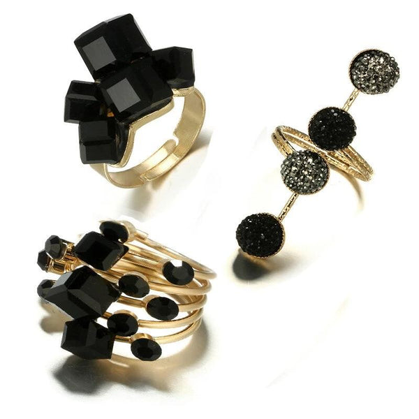 Antique Gold Black Rhinestone