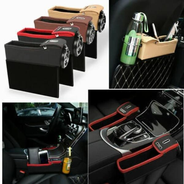 EKYAOMEI 2PCS PU Leather Side Pocket Organizer Car Seat Crevice Storage Box Space Gap Filler Drink Cup Holder with Coin Car Console Interior Accessories Black with Red