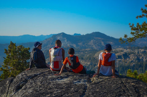 Youth group, trail running team, overlooking valley at Max King Trail Running Camp.