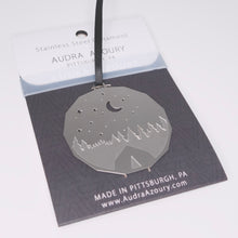 Load image into Gallery viewer, Night Camping ornament in stainless steel by Audra Azoury