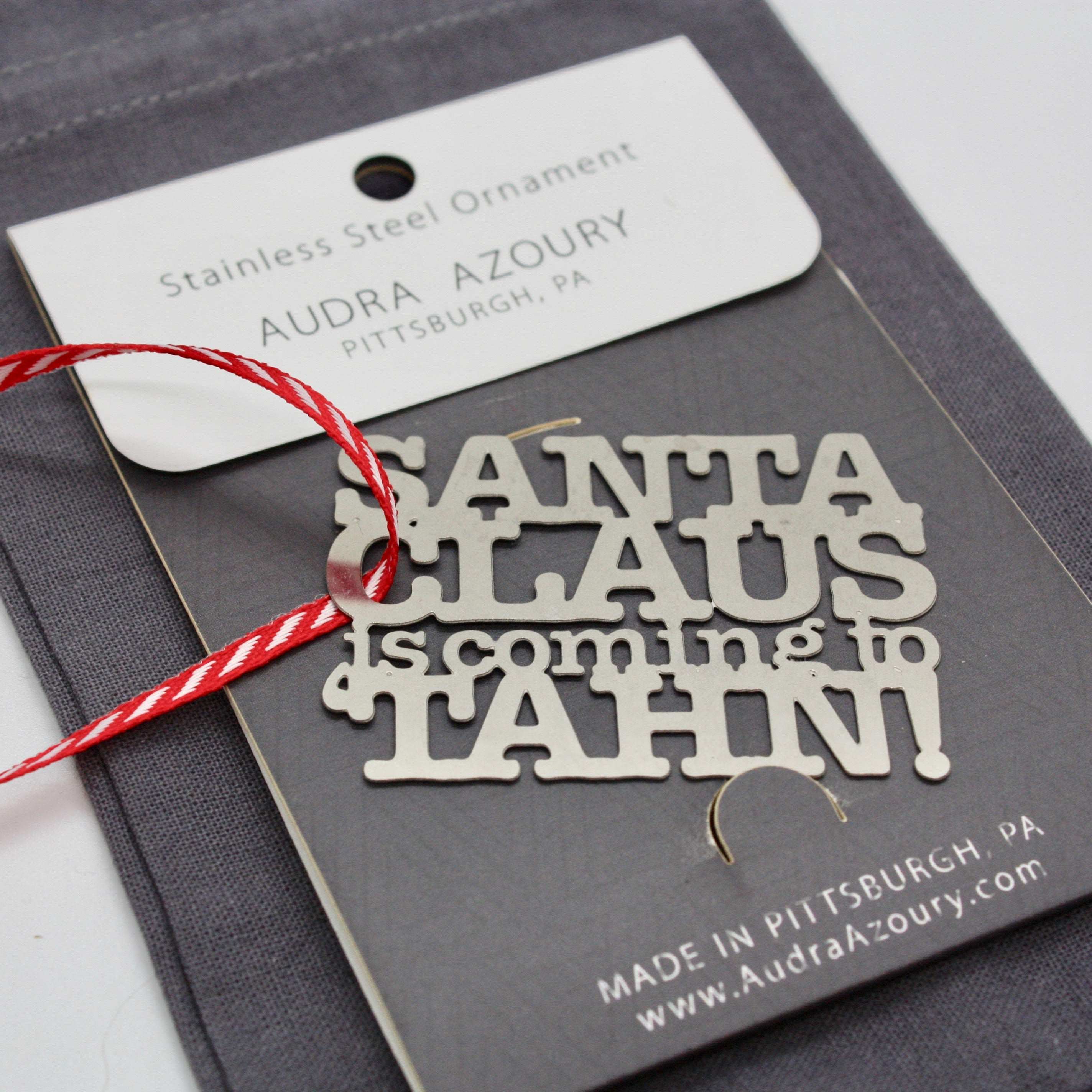 Santa Claus is coming to TAHN ornament by Audra Azoury