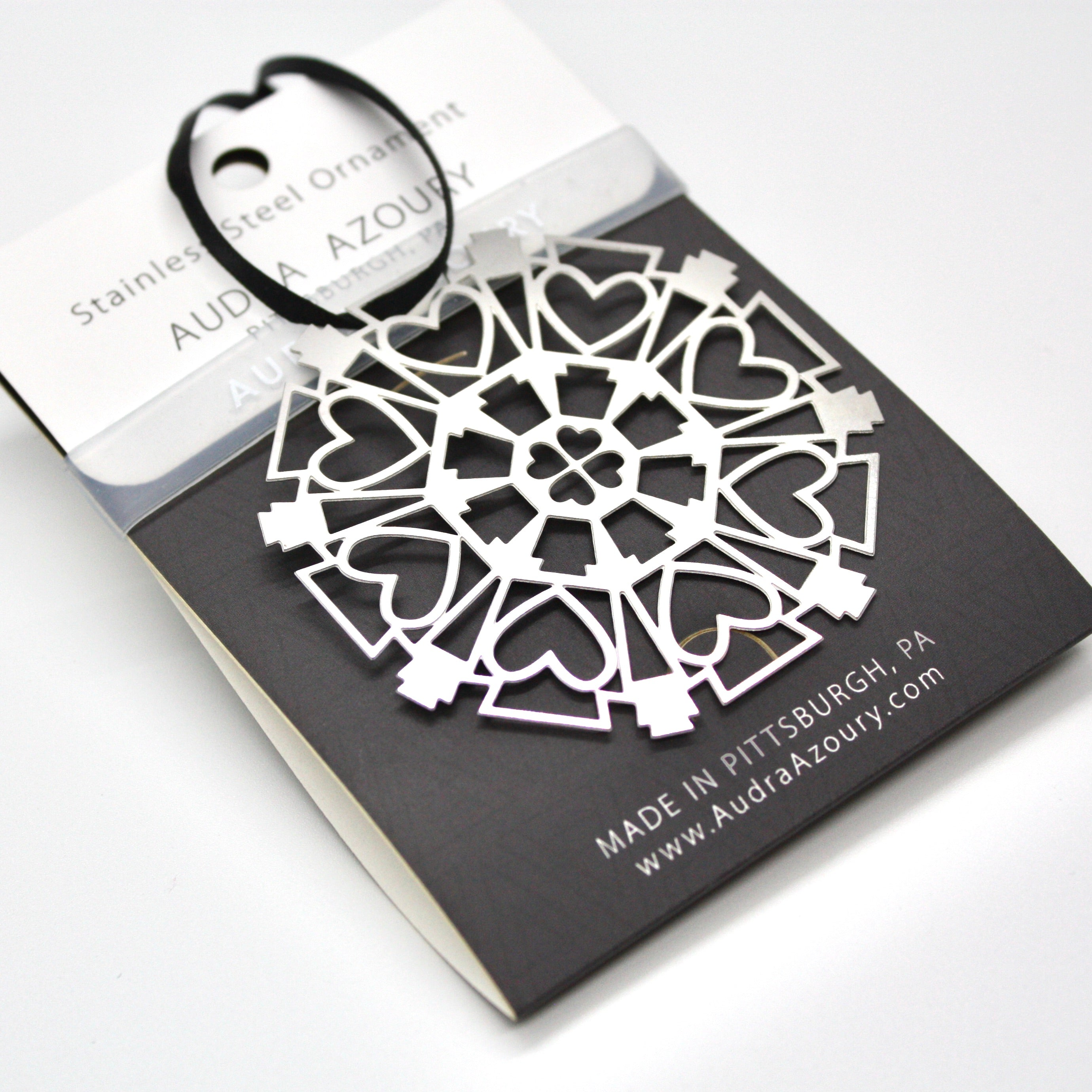 Keystone & Hearts Snowflake Ornament by Pittsburgh Designer Audra Azoury