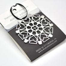 Load image into Gallery viewer, Keystone & Hearts Snowflake Ornament by Pittsburgh Designer Audra Azoury