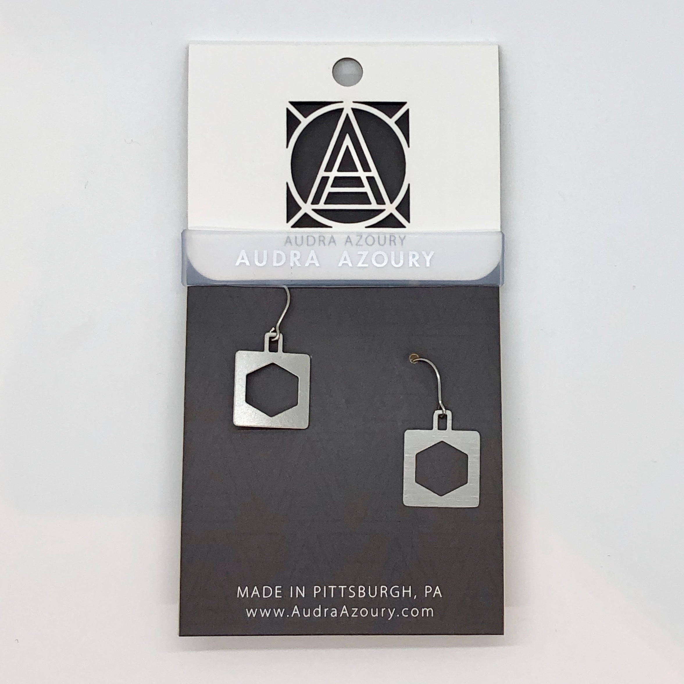 Bridge Earrings | Square Hex Truss