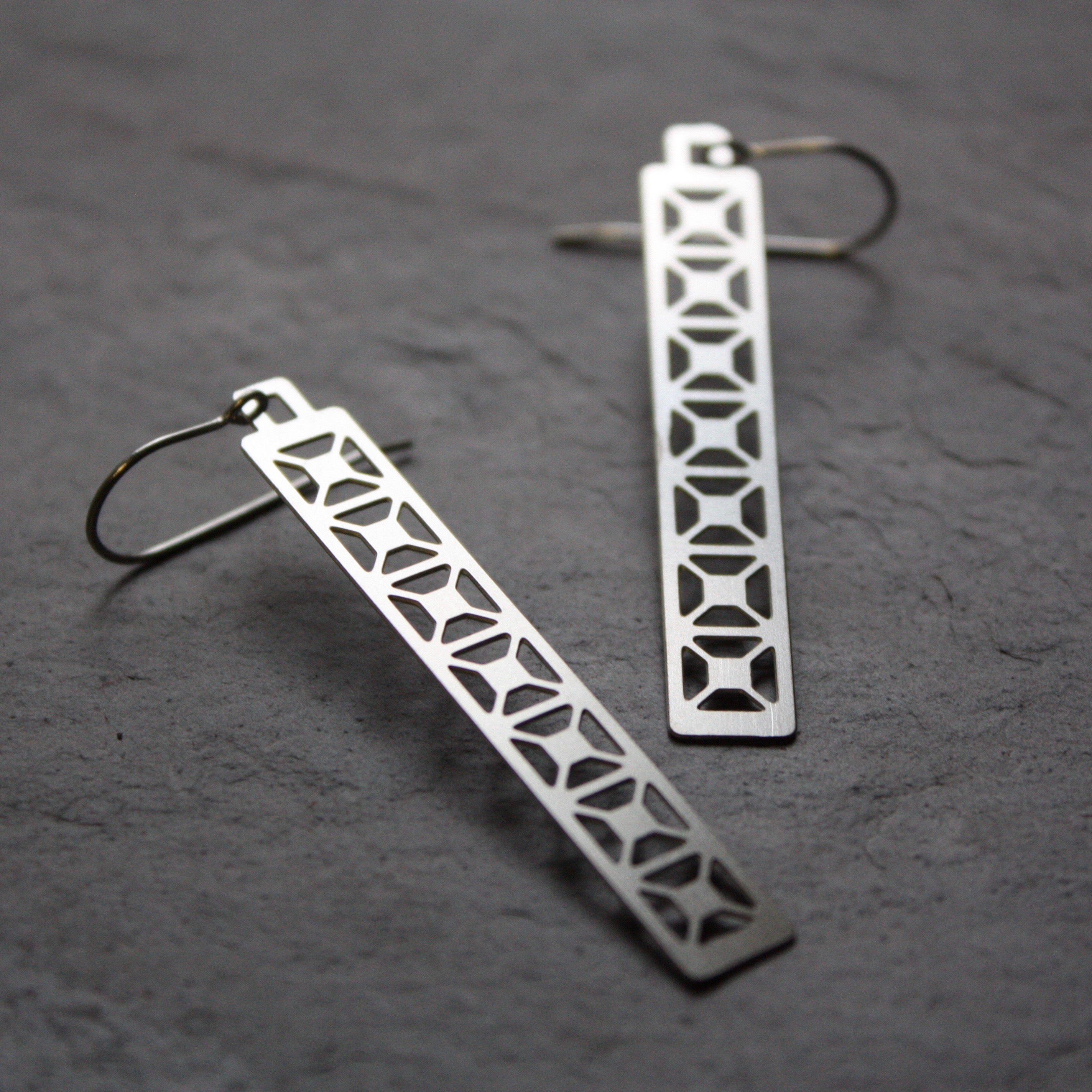 Bridge Earrings | X Truss Dangle in silver by Audra Azoury