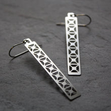 Load image into Gallery viewer, Bridge Earrings | X Truss Dangle in silver by Audra Azoury