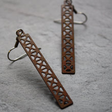 Load image into Gallery viewer, Bridge Earrings | X Truss Dangle in rust by Audra Azoury
