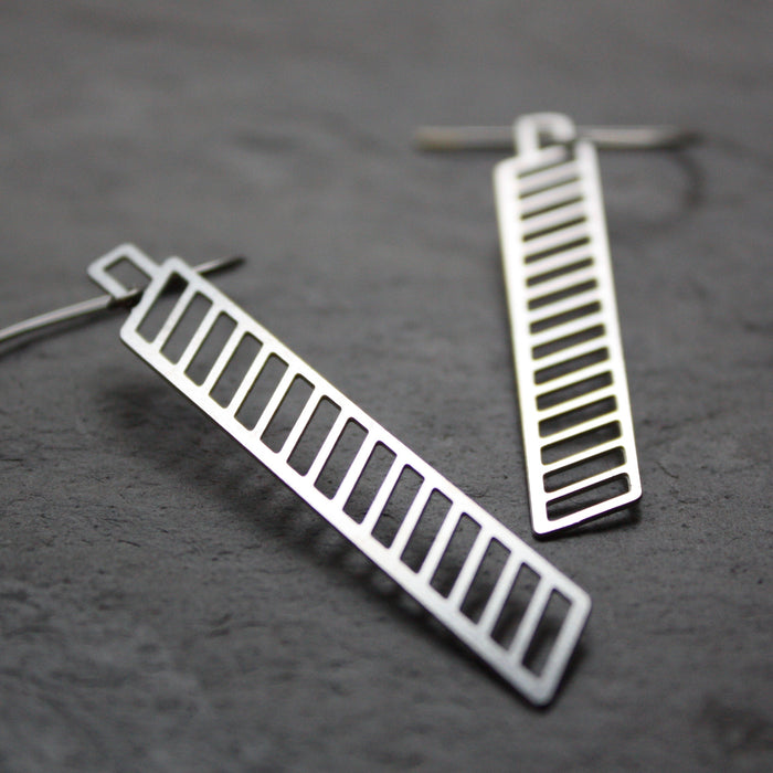 Stainless steel chevron earrings by Audra Azoury