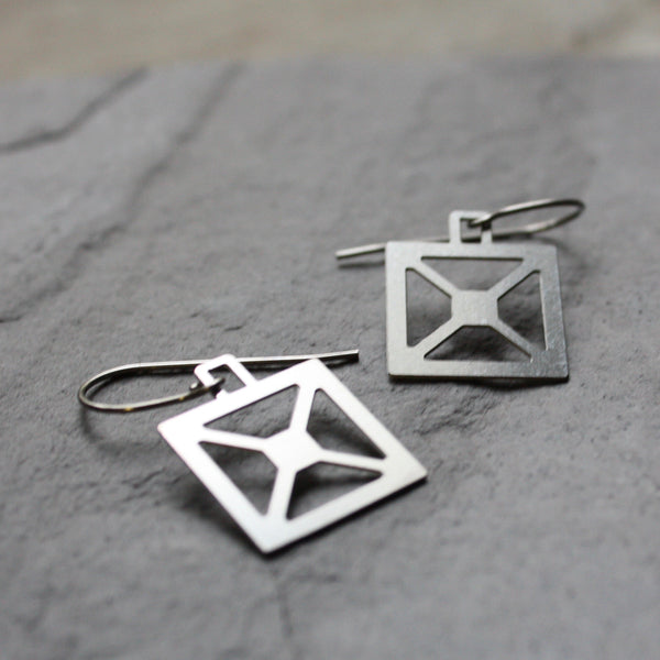 Square X Bridge Truss earrings by Audra Azoury