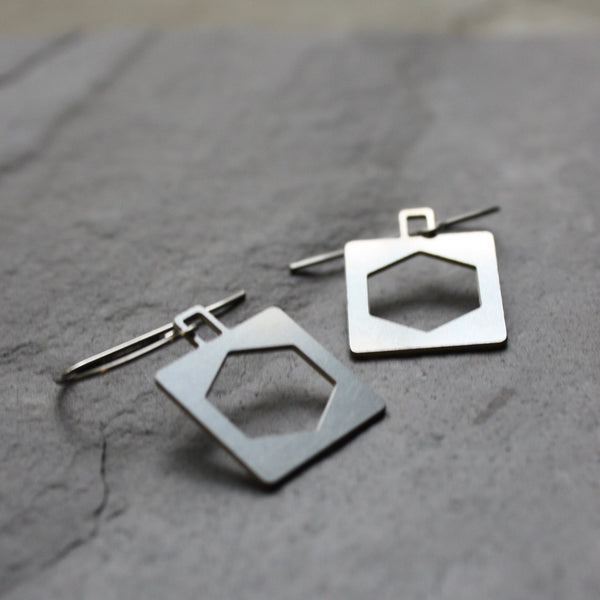 Square Hex Bridge Truss Earrings by Audra Azoury