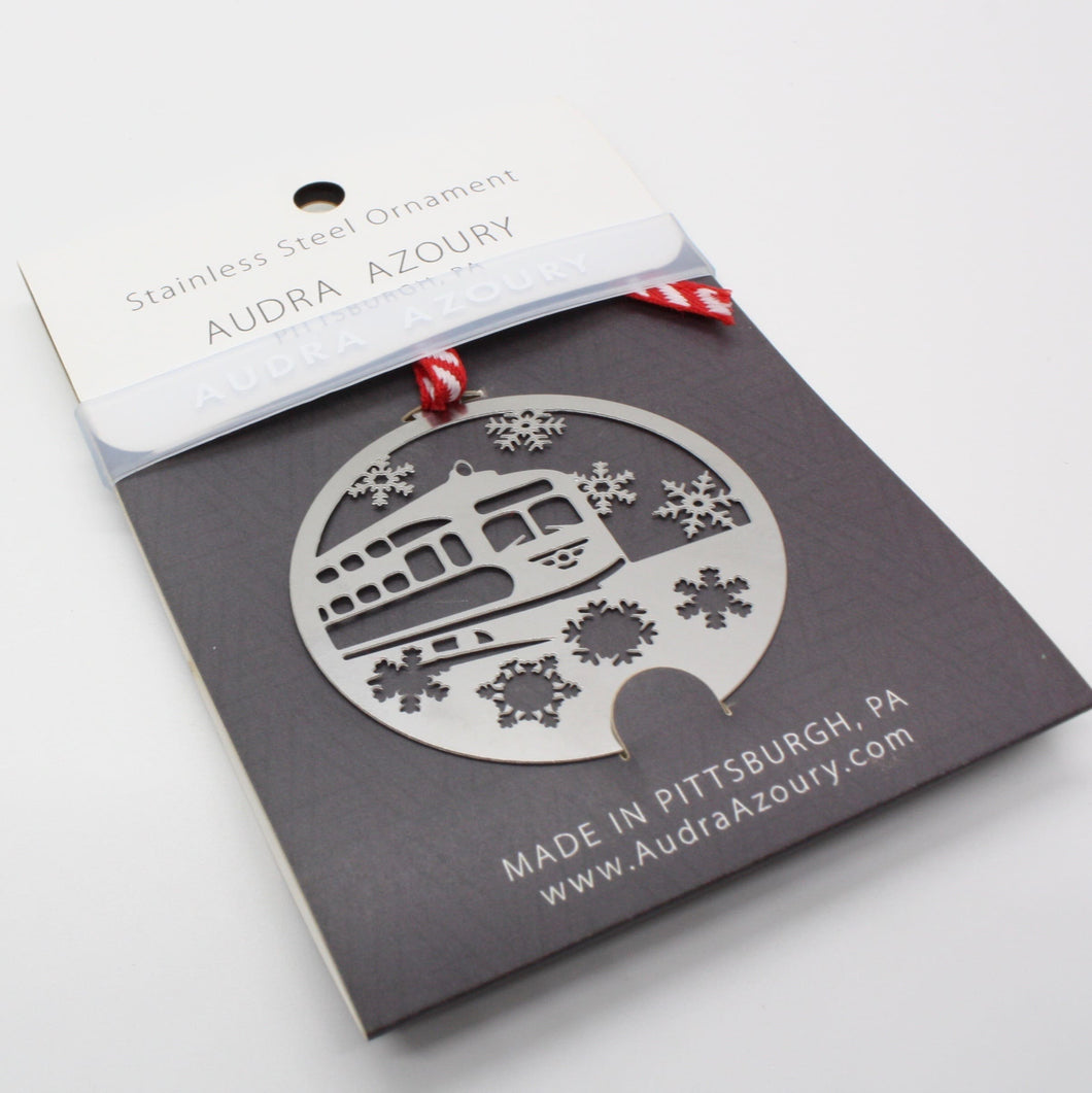 Pittsburgh Ornament | Trolley with Snowflakes