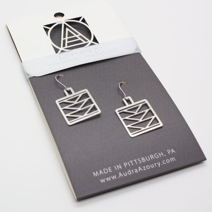 Square Tri-Tower Pole Earrings
