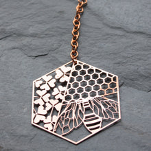 Load image into Gallery viewer, copper sun catcher bee, clover & honeycomb design by audra azoury