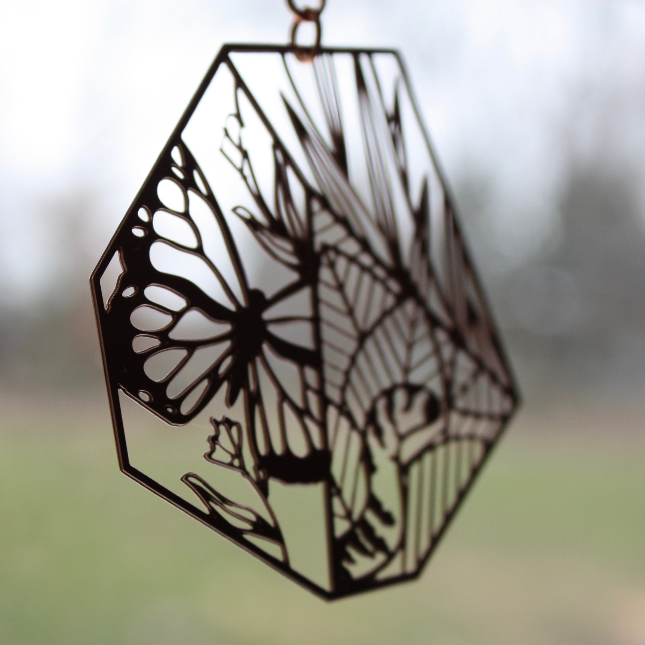 Suncatcher | Butterfly, Flowers & Caterpillar by Audra Azoury
