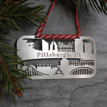 Load image into Gallery viewer, Pittsburgh Skyline Holiday Ornament & Gift Tag by local artist Audra Azoury