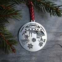 Pittsburgh Ornament | Fort Pitt Tunnel City View with Snowflakes