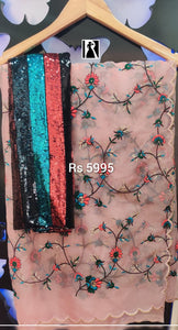 Jaal Work Organza Saree with Full Sequence Blouse_