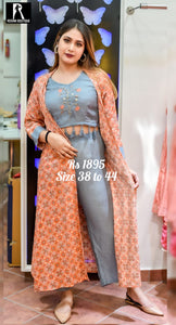 Embroidered Short Top with Pant and Full Length Over Coat_