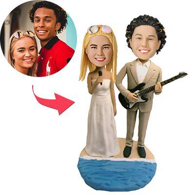 AU Sales-Custom Guitar Wedding Bobbleheads With Engraved Text